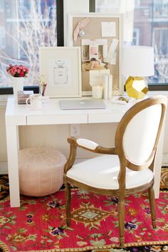 How to Style a West Elm Parsons Desk // white lacquer // pink // gold // white // feminine // elegant // rug from Mcfarlane and Georgia // Hood-Denman Hardware chair // home office space // photography by Danielle Moss // styling by Alaina Kaczmarski