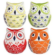 Set of 4 Multicolored Abstract Owl Design Ceramic Condiment Pots / Decorative Kitchen Jars � 8oz Each � Friendly Faces