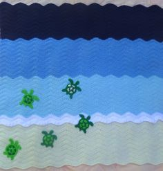 sea turtle crochet ocean baby blanket