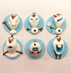 Edible Fondant Disney Frozen Olaf by SweetCreationByCarey Cupcakes Frozen, Olaf Cupcakes, Frozen Cake, Themed Cupcakes, Disney Frozen Party, Frozen Theme, Frozen Birthday Party, Fourth Birthday, Fondant Cupcake Toppers