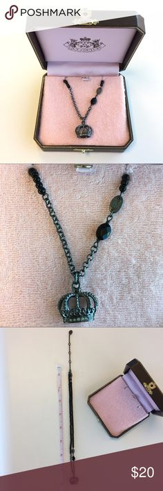 Juicy Couture Crown Necklace Black crown necklace and comes in necklace case. See pictures for measurements. Juicy Couture Jewelry Necklaces