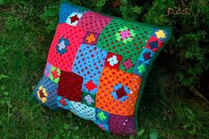 Crochet colorful patchwork cushion