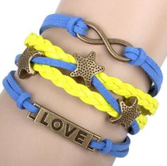 Fashion Lady Retro Love Star Infinity Bracelet in Gold Color - Blue and Yellow Wax Cords and Leather Braid Strands Bracelet Suede Rope Bracelet Gift Whatland,http://www.amazon.com/dp/B00J3K305K/ref=cm_sw_r_pi_dp_e3dEtb1NPXDS9BMF