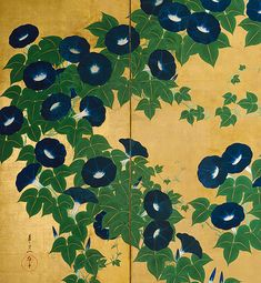 "artemisdreaming: "" From the mind of a single, long vine one hundred opening lives Chiyo-ni Image: Morning Glories screen detail (see archive for full screen) - Suzuki Kiitsu "" Botanical Art, Botanical Illustration, Illustration Art, Flower Prints, Flower Art, Art Asiatique, Art Japonais, Japanese Flowers, Japanese Painting"