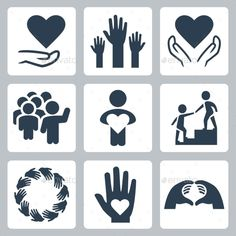 Charity And Volunteer Icon Set — Photoshop PSD #hand #hope • Available here → https://graphicriver.net/item/charity-and-volunteer-icon-set/11725534?ref=pxcr