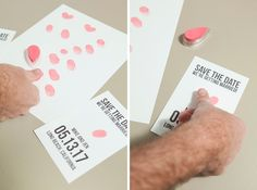 Adorable, free save the date invitations using you and your fiancés thumbprints!