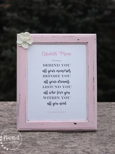 "Thanks for checking out my shop, Heartfelt by Heather! This 8x10"" distressed frame is hand-painted using high-quality paint, then sealed for protection, and features an inspiration graduation message. The poem can be personalized with a name or other message. You choose the"