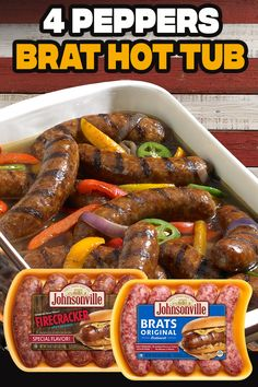 Bratwurst Recipes, Sausage Recipes, Pork Recipes, Crockpot Recipes, Cooking Recipes, Hamburgers, Good Food, Yummy Food, Pork Dishes
