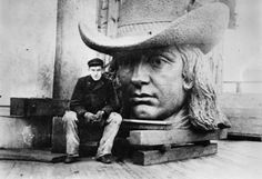 Statue of William Penn and sculpter, Alexander Milne Calder, prior to full assembly. The thirty-seven feet, 27 ton massive bronze statue stands atop the City Hall's bell tower.  (PhillyHistory.org, City Hall Philadelphia | Encyclopedia of Greater Philadelphia