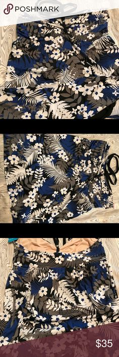 Swim dress Halter Swimdress in Black floral fern design. Brand new w/tags Tropical Escape Swim One Pieces