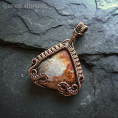 Crazy Lace in Oxidized Copper Swinger Pendant