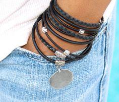 Tibetan Boho LEATHER Wrap Bracelet - Pick COLOR / SIZE - Natural Leather Triple Wrap Bracelet - Charm Bracelet w/ Extension Chain - 722
