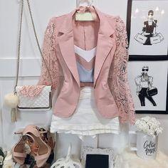 BLAZER MANGA DE RENDA ROSA K JCE9B3HEH - Livia Fashion - Atelier de costura. Fazemos sob medida o modelo que você escolher.