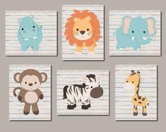 Baby Boy Nursery Wall Art JUNGLE Animals Artwork por TRMdesign