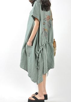 Loose put on a large linen mini dress. $99.00, via Etsy.