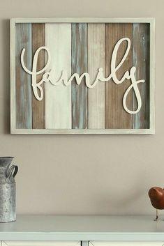 "Love the colors and simplicity. Stratton Home Decor ""Family"" Farmhouse Wall Decor. #ad"
