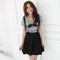 Set: Short-Sleeve Printed T-Shirt + Suspender Skirt from #YesStyle <3 Mini Jule YesStyle.com
