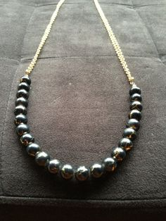 Black and gold double chain layering necklace by AdornbyPriscilla, $22.00