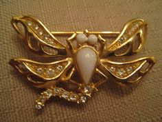 Un Worn Vintage Givenchy Rhinestone Lucite Gold Tone Dragonfly Brooch #Givenchy