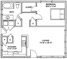 Nice plan if it is rotated 90 degrees clockwise. Bedroom is still a concern for size and ability to move furniture in. Current bedroom size is 13 X Small House Floor Plans, Small Tiny House, Cabin Floor Plans, Tiny House Cabin, Tiny House Living, Tiny House Design, Cabin Homes, Small Homes, In Law House