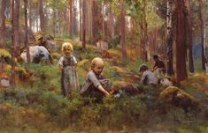 Artist Eero Järnefelt, Tampere Art Museum - In the Bilberry Forest Scandinavian Paintings, Scandinavian Art, Nordic Art, Helene Schjerfbeck, European Paintings, Love Illustration, Paintings I Love, Art Museum, Art For Kids