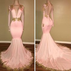 Pink Deep V-neck Long Sleeves Mermaid Prom Dress, Open Back Prom Dress With Golden Embroidery, VB080