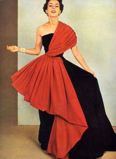 Am trying to pinpoint the differences between work by Madame Gres and Chanel and to work out why Mrs G is not half so famous as Coco is now I love this Dress by Madame Grès. Photo by Phillipe Pottier, Madame Gres, Moda Retro, Moda Vintage, 50s Vintage, Vintage Outfits, Vintage Gowns, Vintage Clothing, 1950s Style, Vintage Glamour