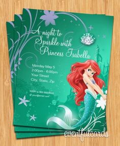 Ariel Birthday Party Invitation. Should I ever have a girl, she should be obsessed with Ariel lol