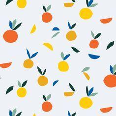 Bright, colourful, vibrant pattern design ideas and inspiration. Love this orange and yellow fruity print.