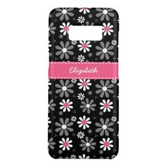 Cute Pink and Black Girly Mod Daisies With Name Case-Mate Samsung Galaxy S8 Case - retro gifts style cyo diy special idea