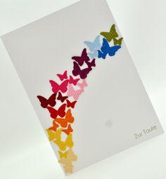 Regenbogen + Schmetterlinge = superschöne Karte