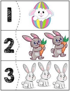 Easter Bunny Quantity Puzzles is part of Easter math - Free Educational Materials For Homeschooling Or The Classroom! Easter Puzzles, Easter Activities For Kids, Autism Activities, Number Games Preschool, Preschool Activities, Flashcards For Kids, Homeschool Kindergarten, Tot School, Teaching Kids