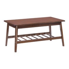 The Aventura's traditional styling is available as either a coffee table or end table. The classic look is highlighted by a rubberwood brown finish and is completed with round pedestal bracing. <br><br>...