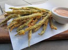 deep fried green beans in onion batter.... they're made with crushed Durkee Onion Rings!  No wonder they're so good!
