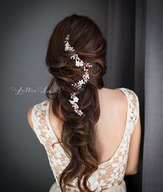 Long wedding hairstyle with Gold and Silver Wire Hair Vine / http://www.deerpearlflowers.com/wedding-hairstyles-and-bridal-wedding-accessories/