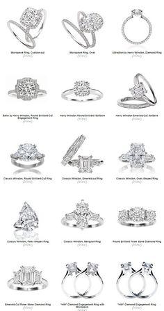 Harry Winston engagement rings!!! Love the three emerald cut!