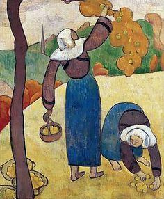 BERNARD Emile,1889 - Breton Peasants -   « La mémoire ne retient pas tout, mais ce qui frappe l'esprit. Donc formes et couleurs devenaient simples, dans une égale unité. En peignant de mémoire, j'avais l'avantage d'abolir l'inutile complication des formes et des tons ; il restait un schéma du spectacle regardé. » (Emile BERNARD)