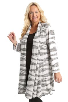 Vikki Vi Wave Swing Sweater Duster A great plus size piece for your holiday party.
