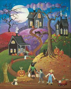 Folk Art Print All Hallows Eve by KimsCottageArt on Etsy, $12.95