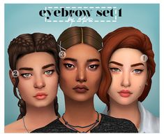 EYEBROW SET 1 some cute lil' eyebrows i made in between studying hand-painted, with the standard ea swatches two of them are very slightly asymmetric and i really like the look so i definitely wanna. Sims 4 Cc Skin, Sims 4 Mm Cc, Sims Four, Maxis, Los Sims 4 Mods, Pelo Sims, Sims 4 Gameplay, Sims 4 Cc Makeup, Sims4 Clothes