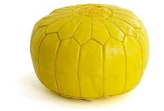 Yellow Moroccan Leather Poufs/Ottomans- Sold UN-STUFFED on Etsy, $99.95