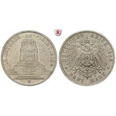 Deutsches Kaiserreich, Sachsen, Friedrich August III., 3 Mark 1913, Völkerschlacht, E, f.st, J. 140: Friedrich August III.… #coins