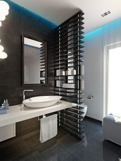Chick Guest Toilet - modern - powder room - other metro - Bathroom By Design Interesting wall separating lav and vanity Diy Bathroom Vanity, Bathroom Photos, Small Bathroom, Bathroom Ideas, Bad Inspiration, Bathroom Inspiration, Modern Bathroom Design, Bathroom Interior Design, Wc Decoration