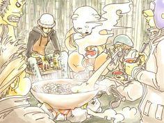 Heart pirates Trafalgar D. Water Law, Bepo, Shachi, Penguin, Jean Bart One Piece