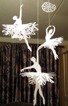 little girls, idea, craft, paper snowflakes, snowflak ballerina, little girl rooms, diy, christma, ballerina snowflak
