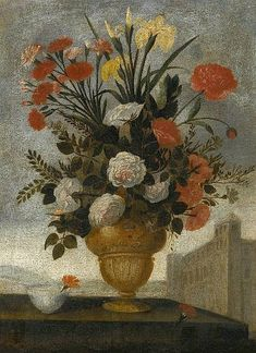 Still Life with Flowers against a Landscape by Pedro Camprobin, 17th century. Bunch Of Flowers, 17th Century, Baroque, Still Life, Spain, Landscape, Painting, Art, Art Background