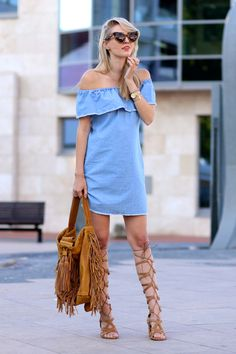 How to Wear High Gladiator Sandals this Summer | Street Style Outfit Inspiration | @ohhcouture in chambray off-the-shoulder dress and tan knee-high gladiator heels