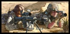 Man I envy other sniper teams. just a lone wolf here for reconaissance, eh here have a photo when I encountered them while they were sniping Anime Military, Military Girl, Game Character Design, Character Art, Armas Airsoft, Guerra Anime, Apocalypse Art, Anime Warrior, Cool Anime Girl