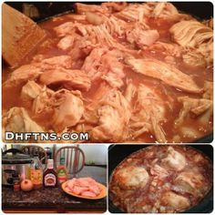 """Here is the recipe:  Here is the recipe:  5 Pounds (80 Ounces) Chicken Breasts 1/2 Cup (4 Ounces) Fat Free Italian Dressing 3 Tablespoons Apple Cider Vinegar """"With The Mother"""" 12 Ounces (340g) Hickory  Brown Sugar BBQ Sauce 1 Medium Yellow Onion (Chopped) 1/2 Teaspoon Crushed Red Pepper"""