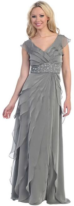Glamour Plus L3025W Wide Waist Mother of the Bride/Groom Dress. V-neck, faux wrap down pleated top held at the waist by sequin design band. Beautiful tiered skirt complement well with the overall Grecian look of the dress. Chat with us at http://messenger.providesupport.com/messenger/therosedress.html?ps_s=j1SnsL3Hqy8k